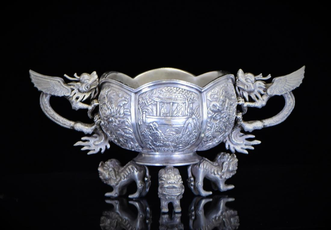 18TH C. CHINESE FLORAL RIM & WINGED DRAGON SILVER