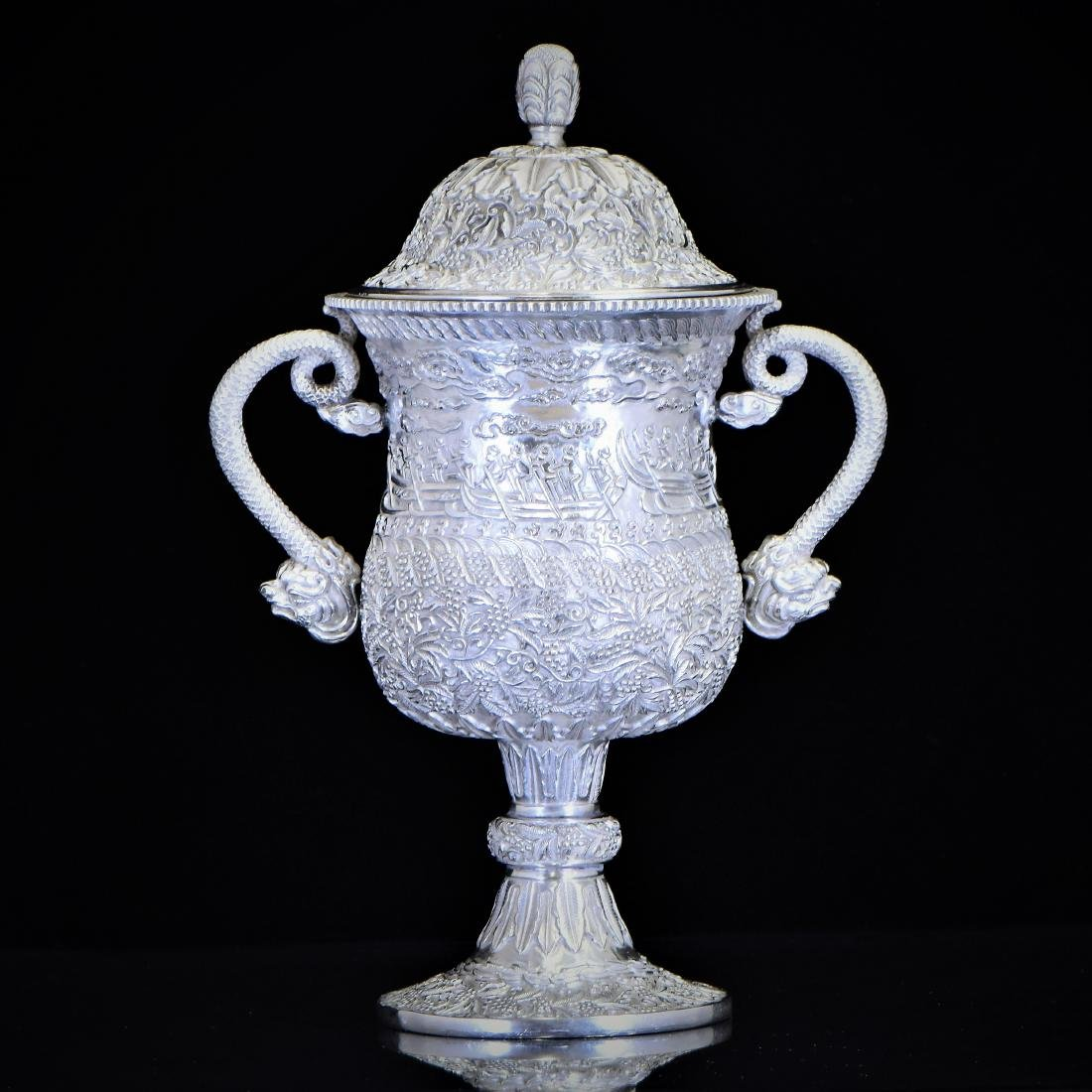 19TH C. CHINESE EXPORT SILVER REPOUSSED DRAGON BOATS
