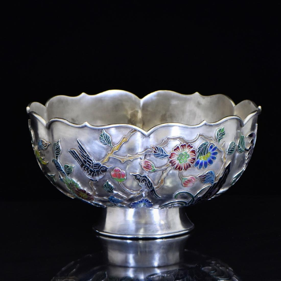19TH C. CHINESE EXPORT ENAMEL FLORAL RIM SILVER BOWL