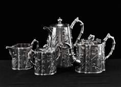 SET OF 4 1920TH C CHINESE EXPORT SILVER TEA SET WANG