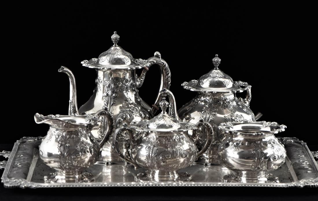 19/20TH C. SET OF 6 PCS FRANK WHITING SILVER TEA SETS