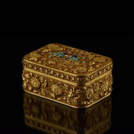 QIANLONG SOLID GOLD INLAID TRINKET BOX