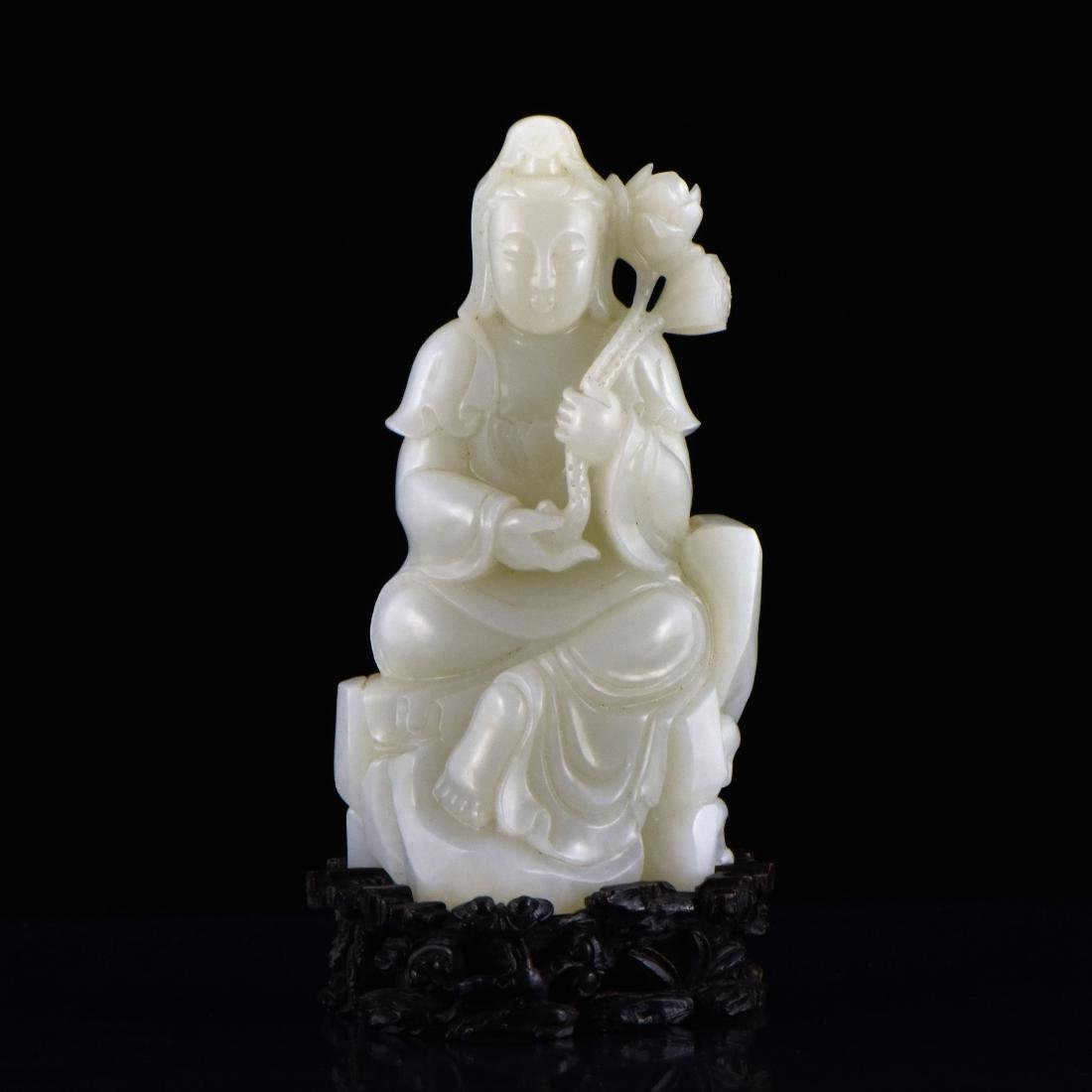 CELADON JADE OF GUANYIN FIGURE ON STAND