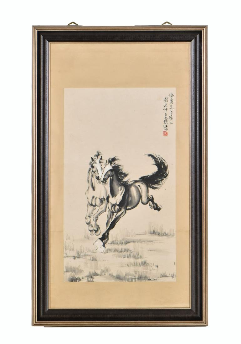 XUBEIHONG, FRAMED PAINTING 'TWO GALLOPING HORSES', 1943 - 2