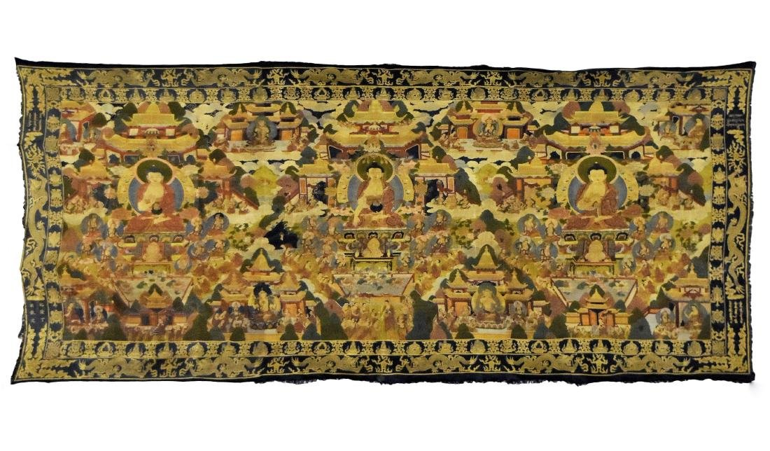 18 TH C LARGE BUDDHIST EMBROIDERY SILK THANGKA