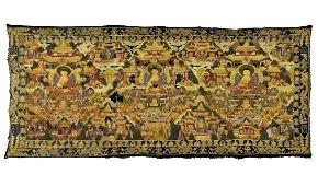 18 TH C LARGE BUDDHIST EMBROIDERY SILK THANGKA