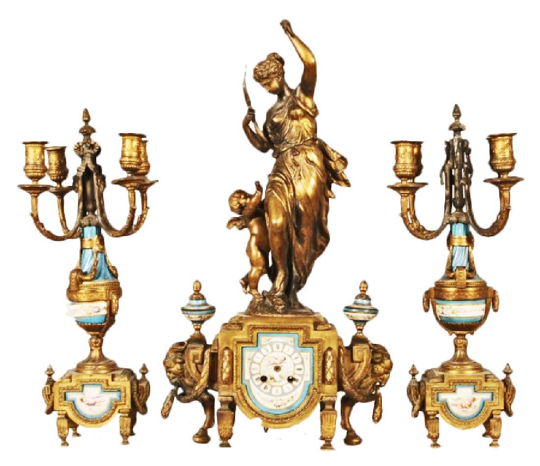 3 PIECE GILT METAL CLOCK SET