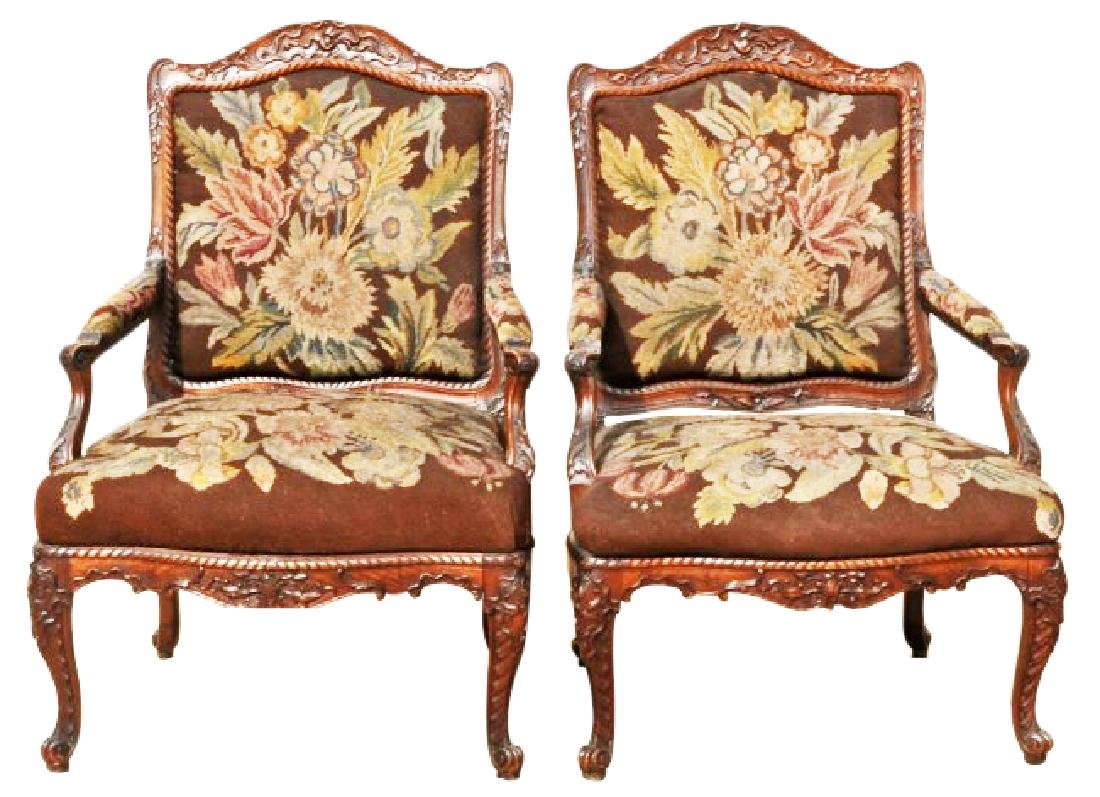 19TH C. LOUIS XV STYLE ARMCHAIRS
