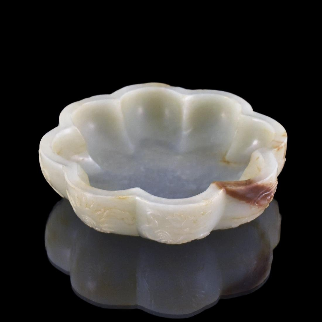 19TH C. CARVED CHINESE JADE BRUSH WASHER OF FLORAL FORM