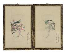 PAIR OF FRAMED CHINESE BIRDS  FLOWER PAINTINGS