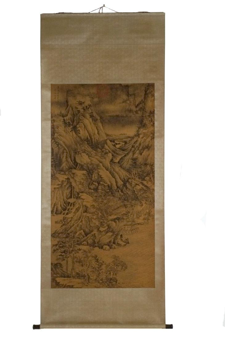 CHINESE LANDSCAPE SILK PAINTING SCROLL
