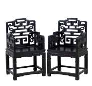 CARVED ZITAN CHINESE MASTER ARMCHAIRS