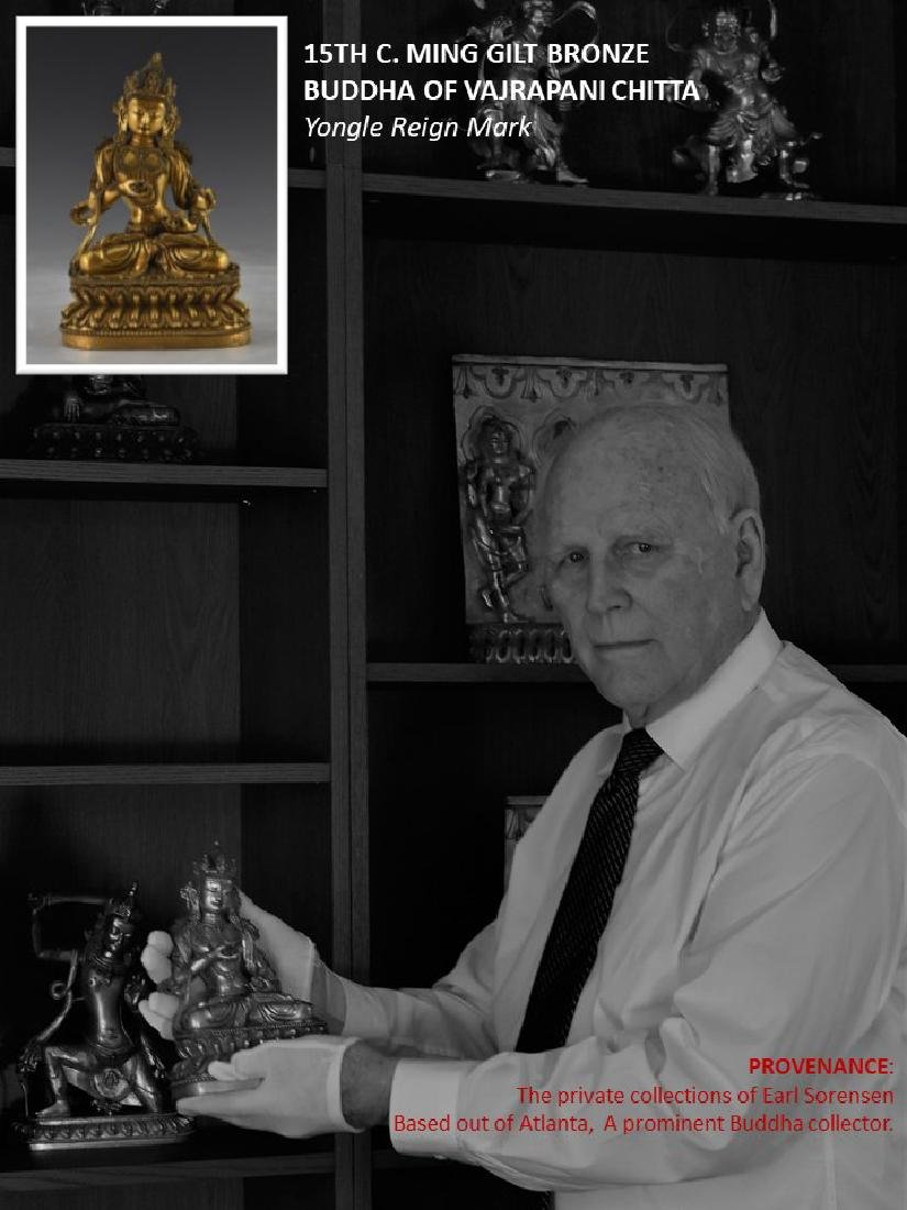 15TH C MING GILT BRONZE BUDDHA OF VAJRAPANI CHITTA