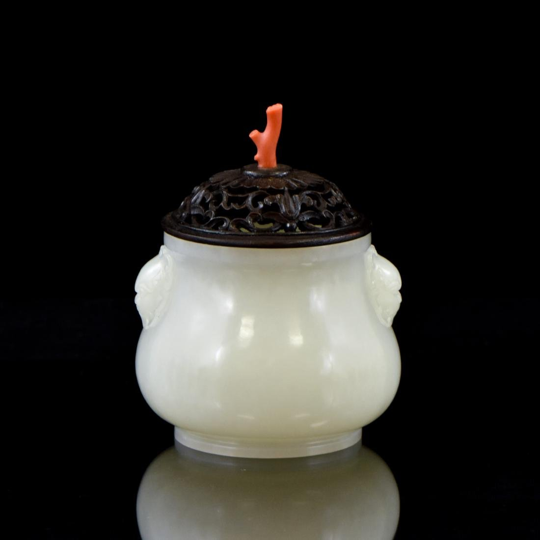 CELADON JADE CENSER AND RED CORAL FINIAL ON STAND