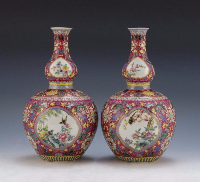 PAIR OF RUBY RED SGRAFITTO OPEN FACE DOUBLE GOURD VASES