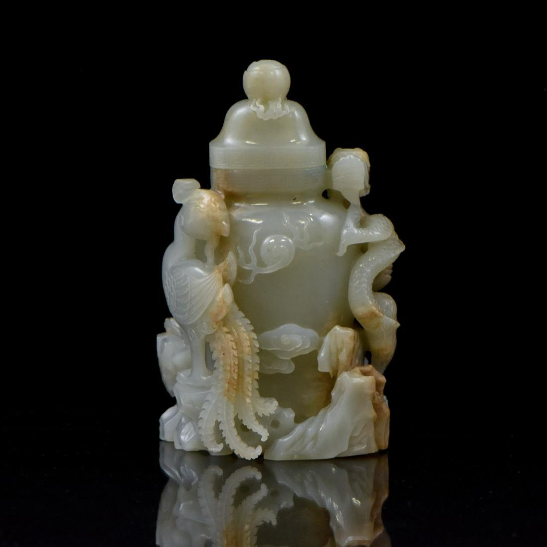CHINESE JADE COVERED URN WITH DRAGON PHOENIX MOTIF