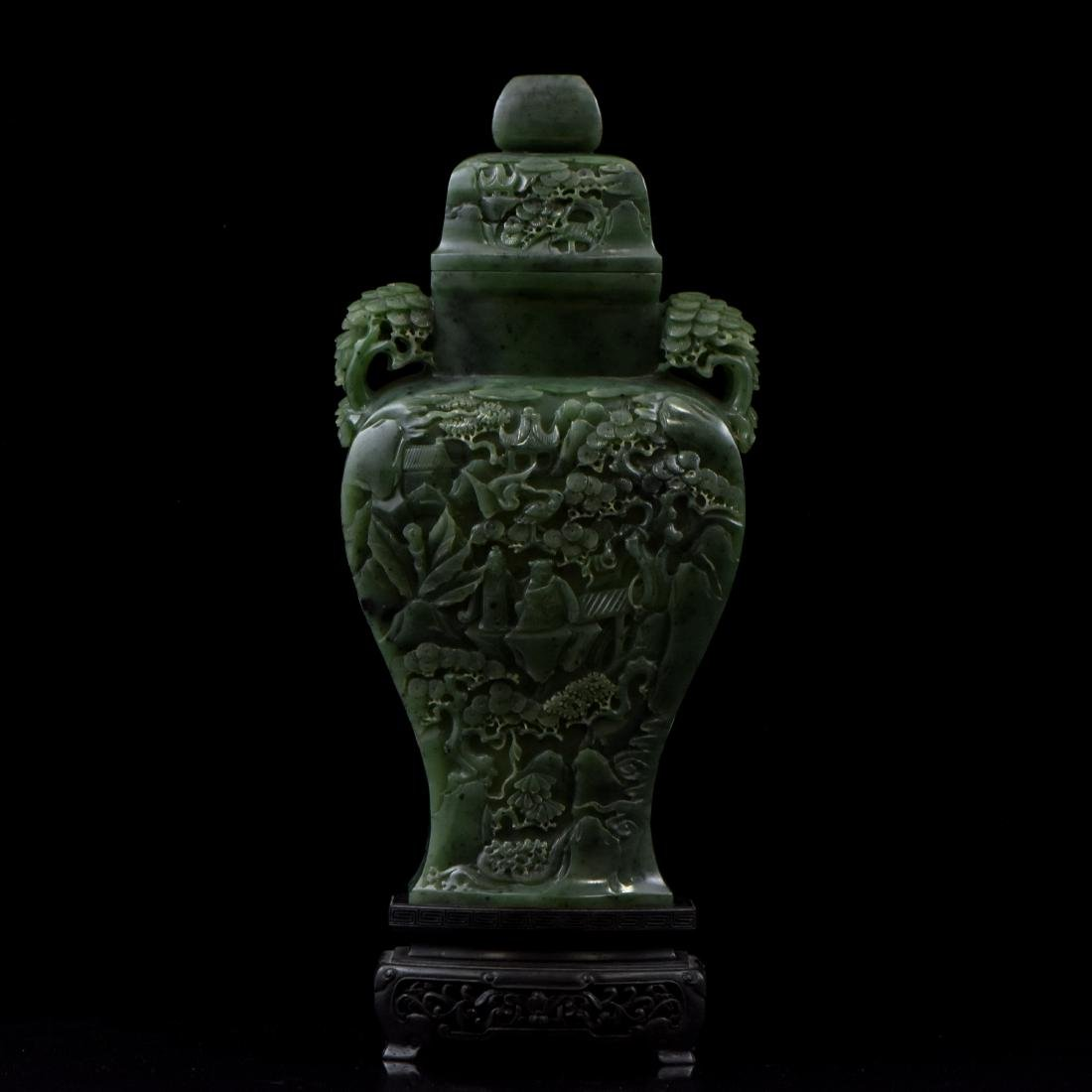 LARGE CHINESE SPINACH GREEN JADE URN ON STAND