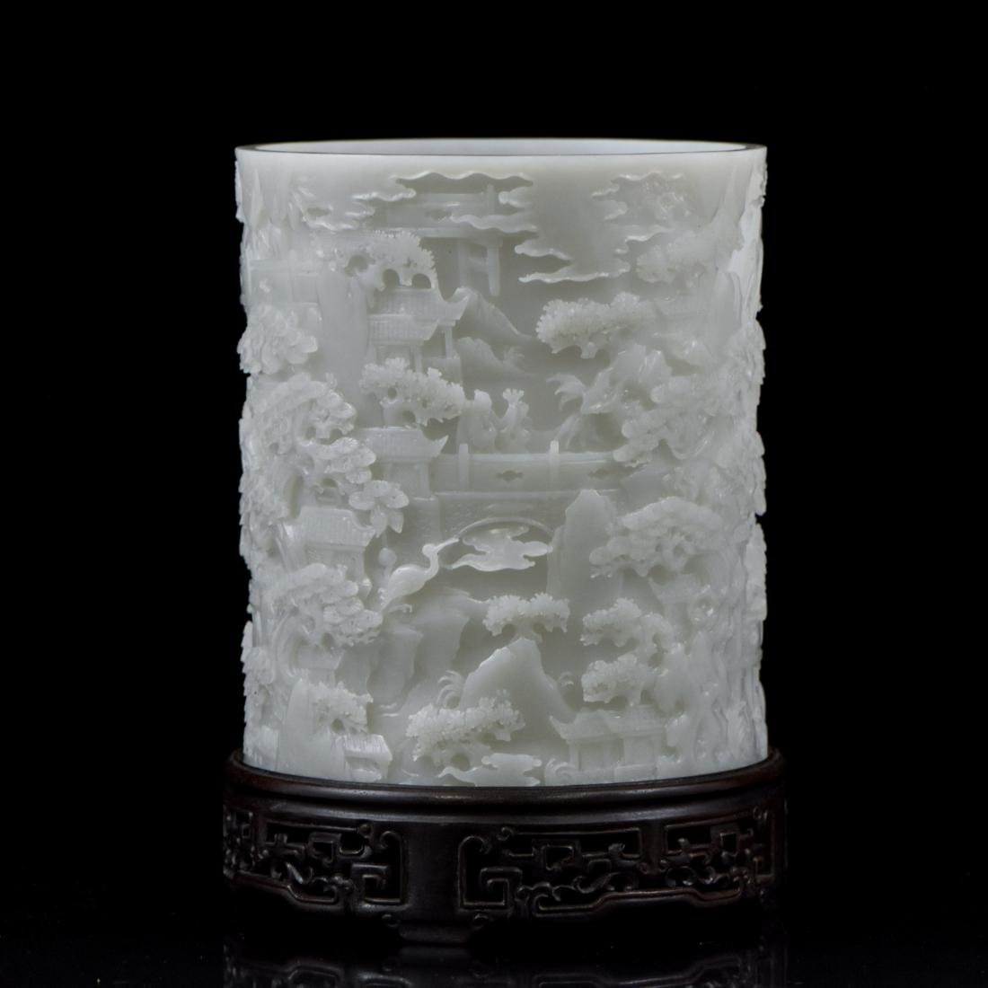 MAGNIFICENT WHITE JADE BRUSH POT ON STAND