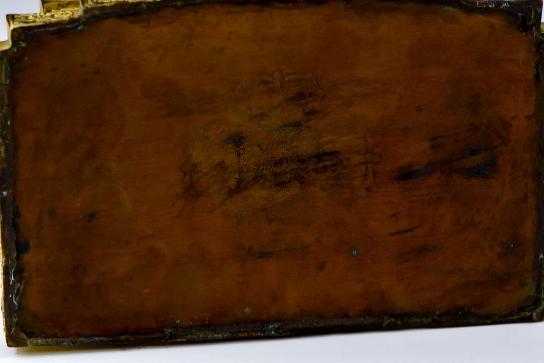 MING YONGLE GILT BRONZE BUDDHA WITH AUREOLA - 6