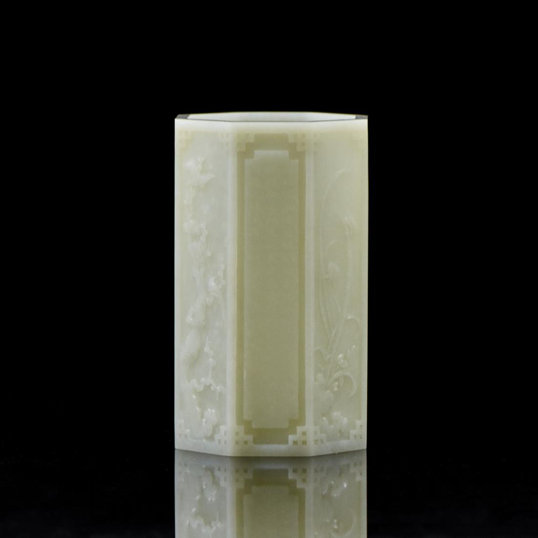 QIANLONG WHITE JADE OCTAGONAL BRUSH POT