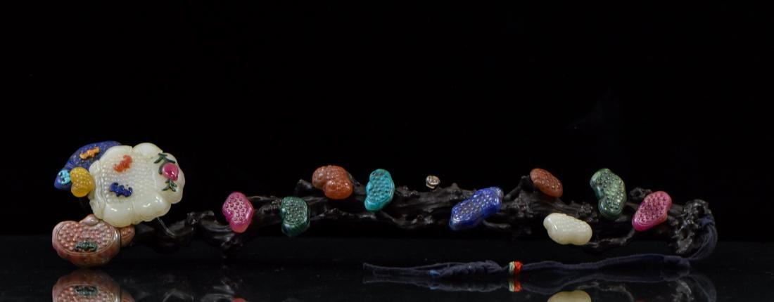 SEMI-PRECIOUS STONES INLAID HARWOOD RUYI SCEPTER