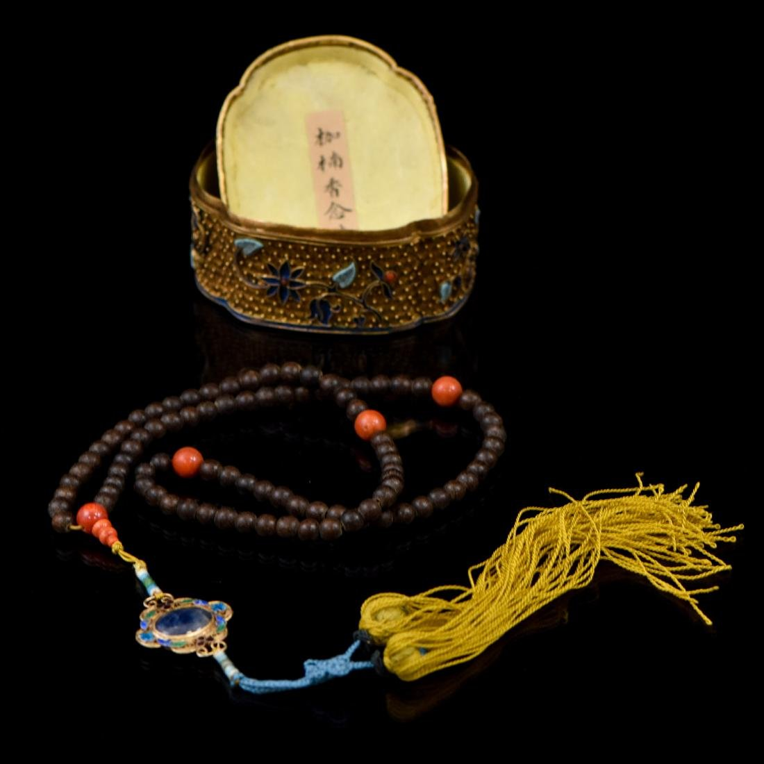 IMPORTANT CHENXIANG WOOD BEADS IN FILIGREE BOX