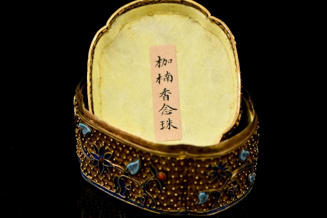 IMPORTANT CHENXIANG WOOD BEADS IN FILIGREE BOX - 6