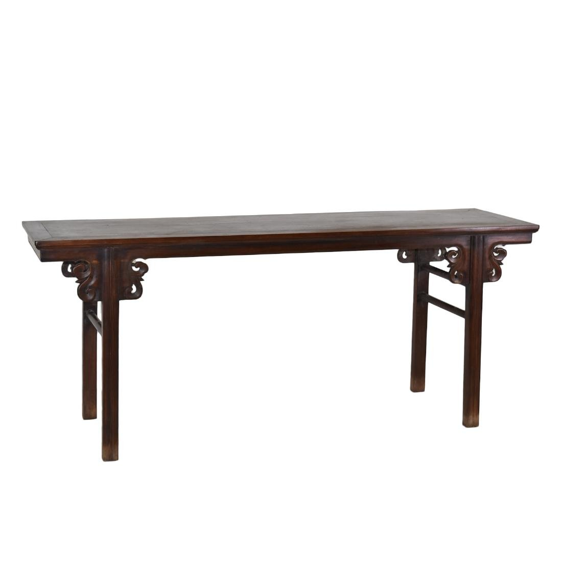 17/18TH QING HUANGHUALI ALTAR TABLE IN FLORAL MOTIF