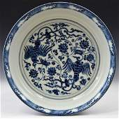 LARGE MING BLUE & WHITE DOUBLE PHOENIX CHARGER