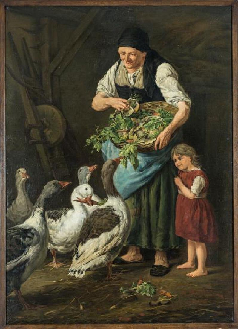 FEEDING THE GEESE, A. MULLER OIL ON CANVAS