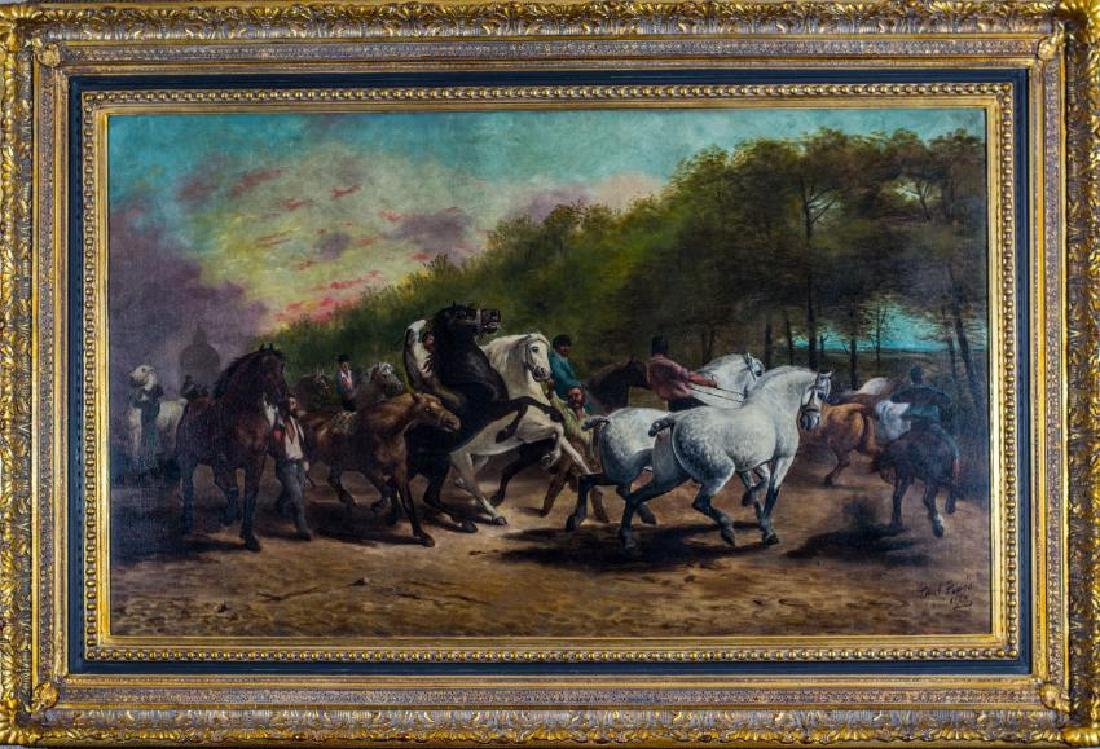 PAUL POVIS, 1888, HORSE FAIR, OIL ON CANAS