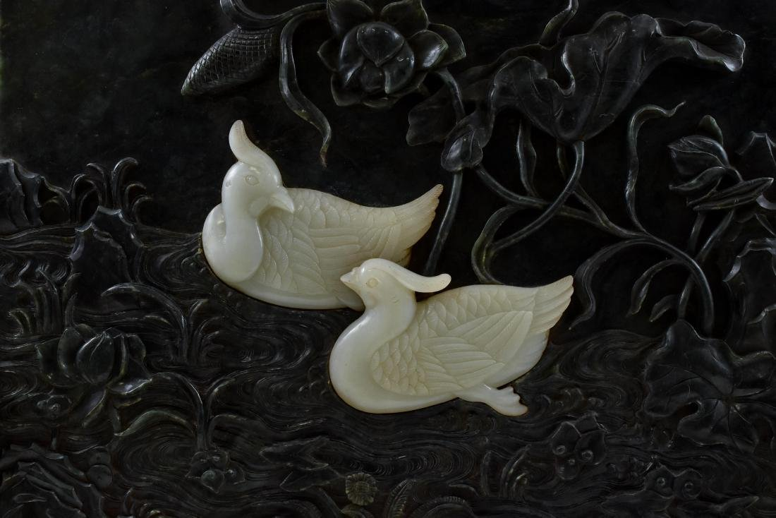 GREEN & WHITE JADE INLAID MANDARIN DUCKS TABLE SCREEN - 4