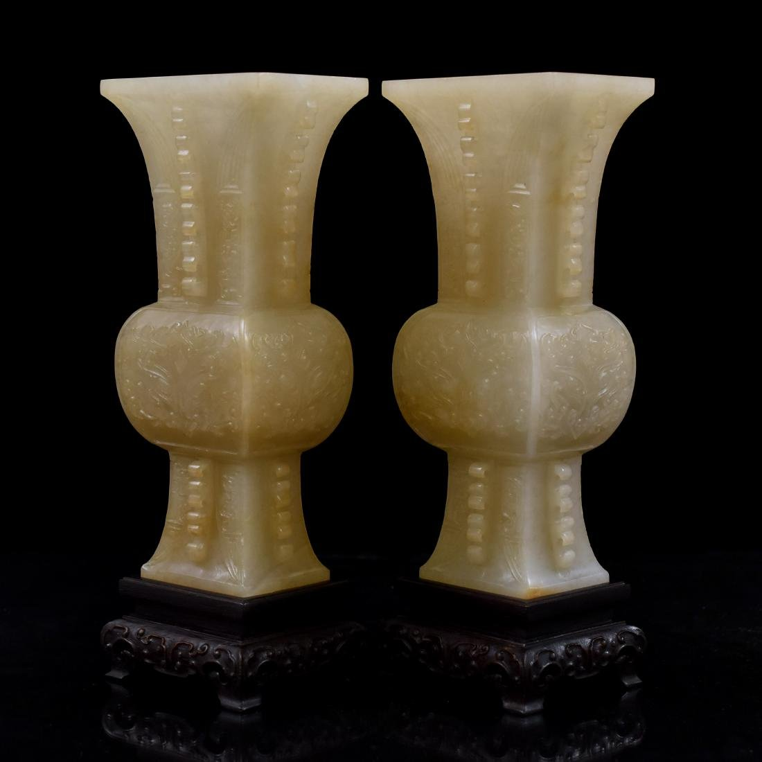 PAIR OF CHINESE JADE GU VASES ON STAND