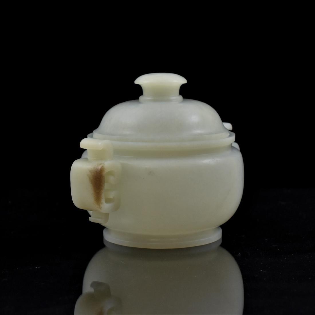 CHINESE WHITE JADE COVERED CENSER - 2