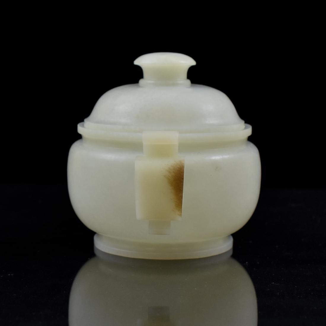 CHINESE WHITE JADE COVERED CENSER - 3