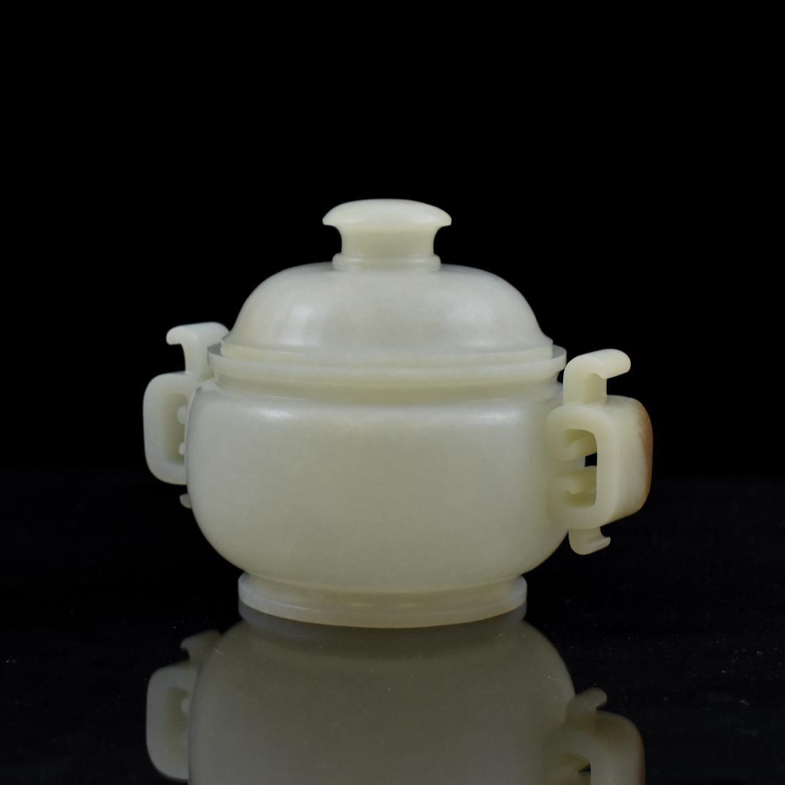 CHINESE WHITE JADE COVERED CENSER - 4