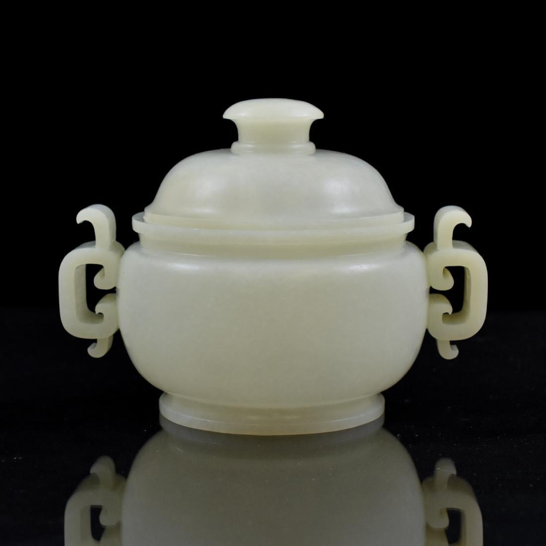 CHINESE WHITE JADE COVERED CENSER - 5