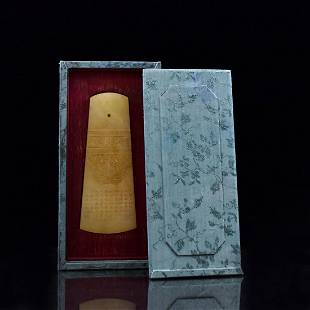 CHINESE QING ANTIQUE JADE AXE IN BOX