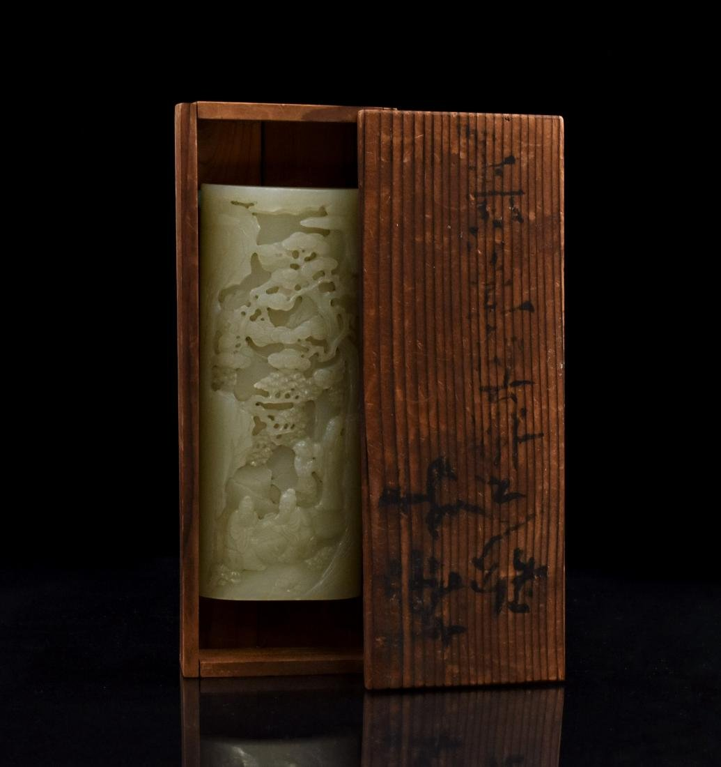 19TH CHINESE JADE PANORAMIC ARM REST IN BOX