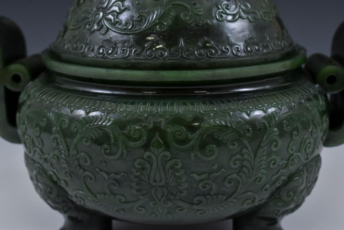 QING CHINESE GREEN JADE COVERED TRIPOD CENSER - 10
