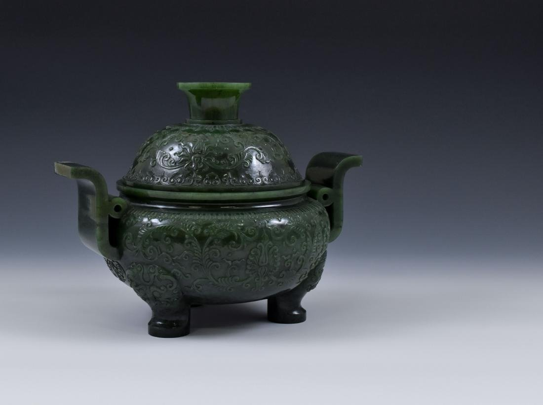 QING CHINESE GREEN JADE COVERED TRIPOD CENSER - 2