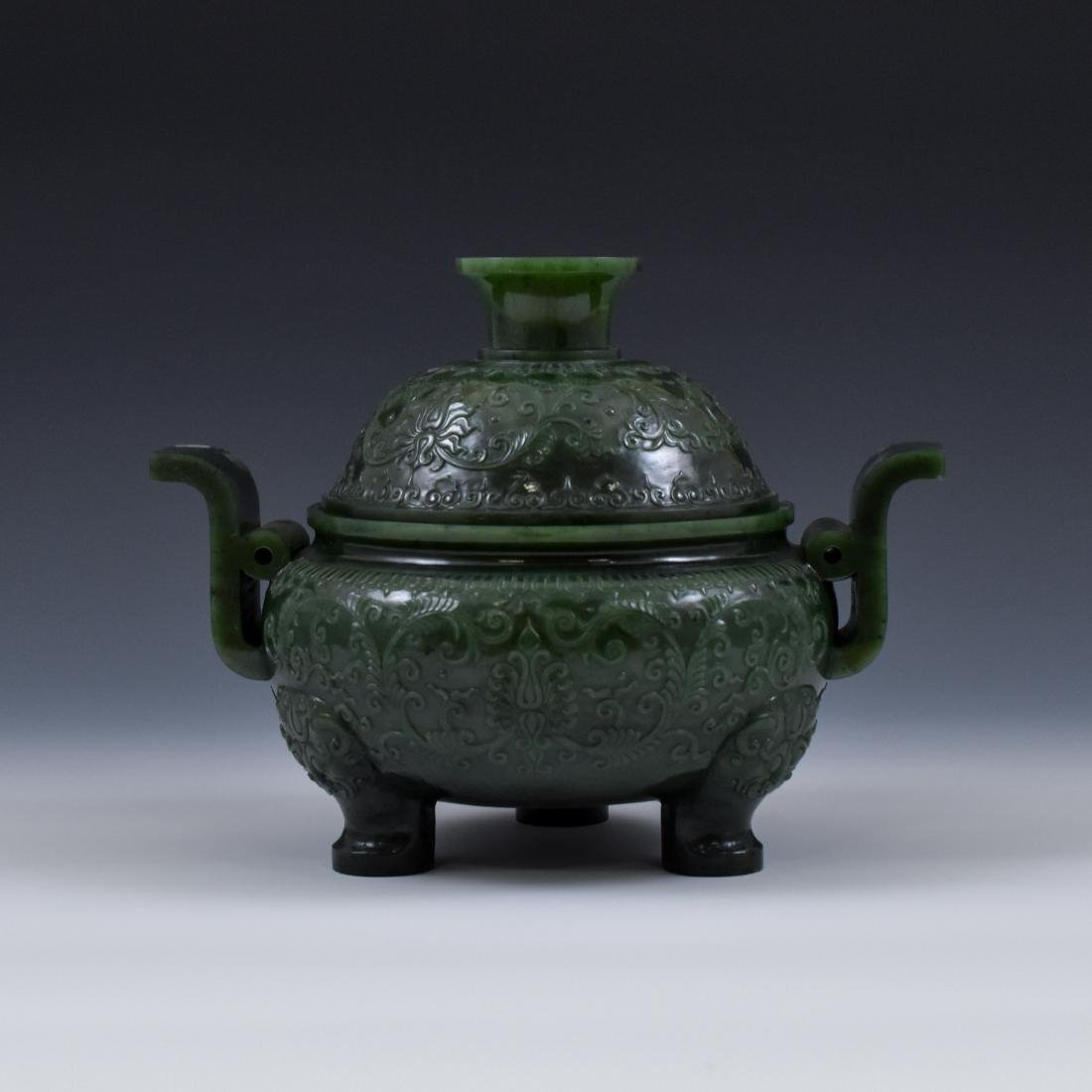QING CHINESE GREEN JADE COVERED TRIPOD CENSER - 3