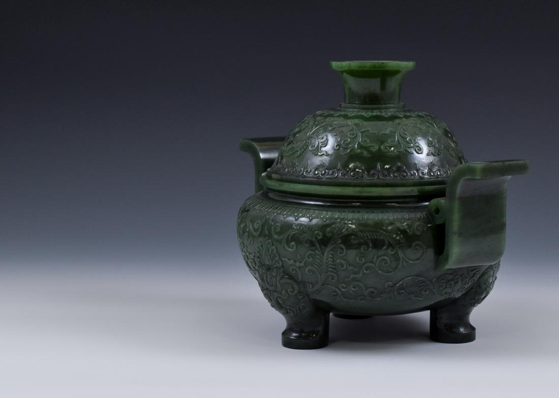 QING CHINESE GREEN JADE COVERED TRIPOD CENSER - 4
