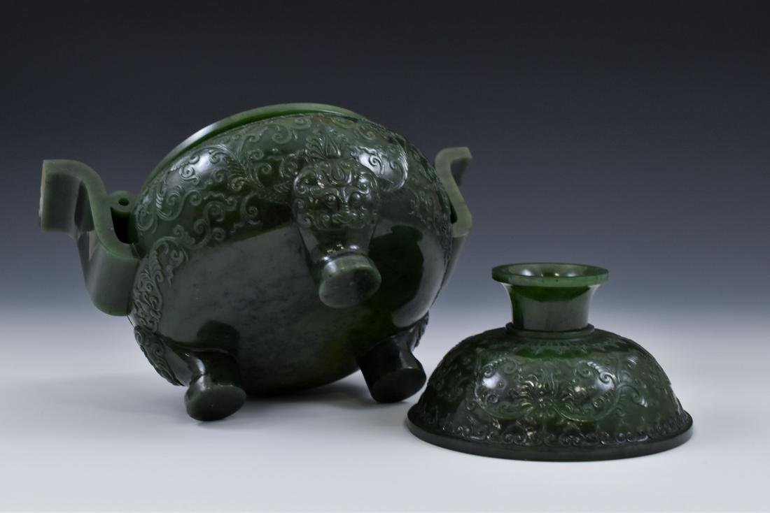 QING CHINESE GREEN JADE COVERED TRIPOD CENSER - 5