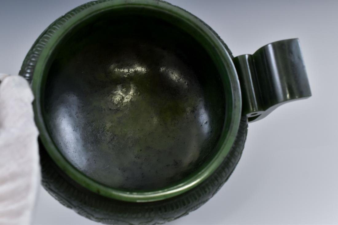 QING CHINESE GREEN JADE COVERED TRIPOD CENSER - 6