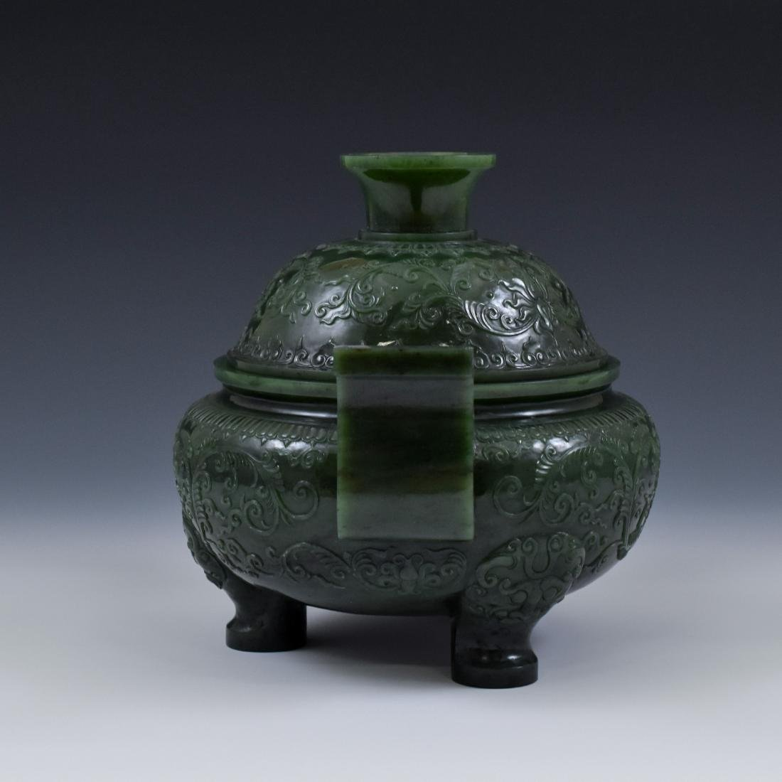 QING CHINESE GREEN JADE COVERED TRIPOD CENSER - 7