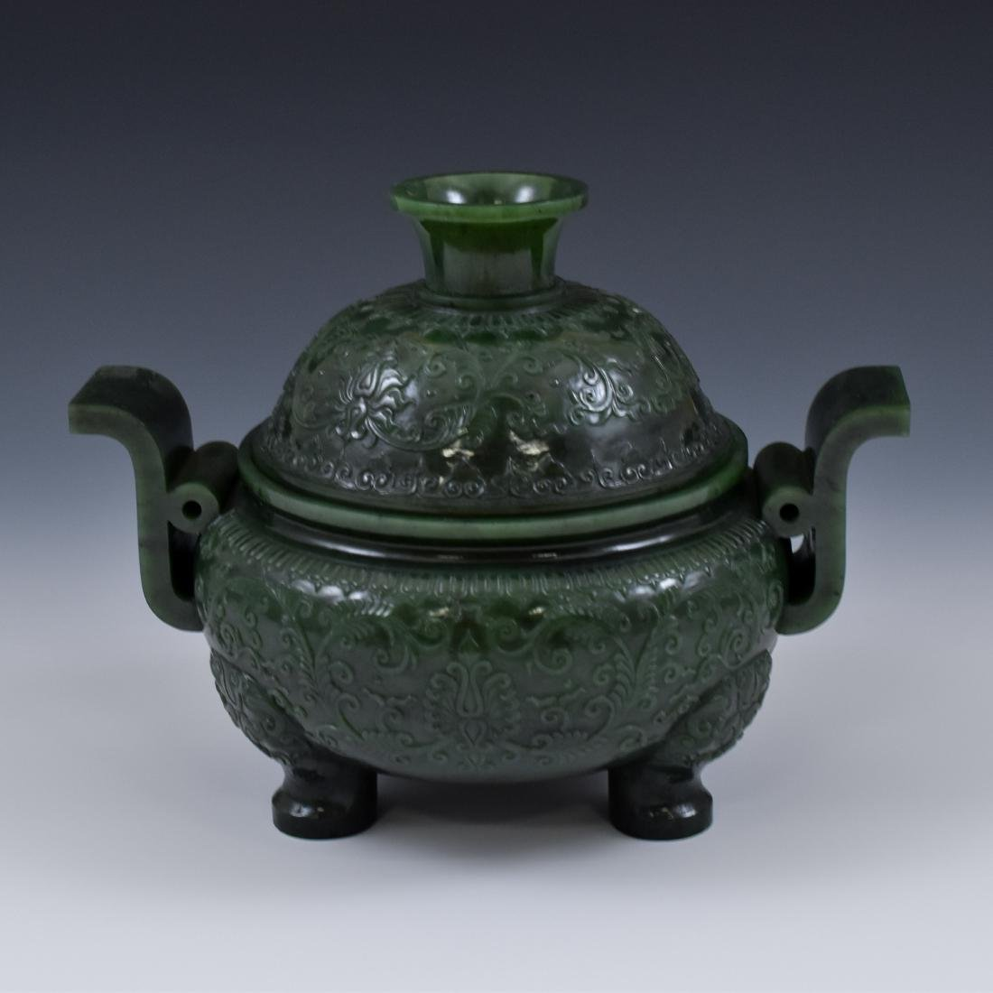QING CHINESE GREEN JADE COVERED TRIPOD CENSER - 8
