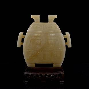 CHINESE JADE FU CENSER ON STAND