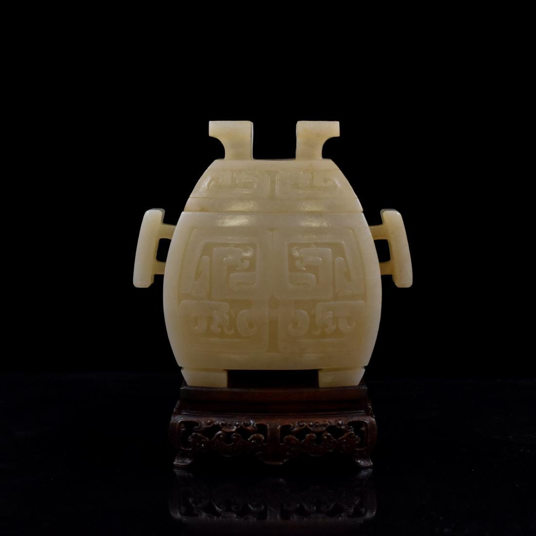 CHINESE JADE FU CENSER ON STAND - 5