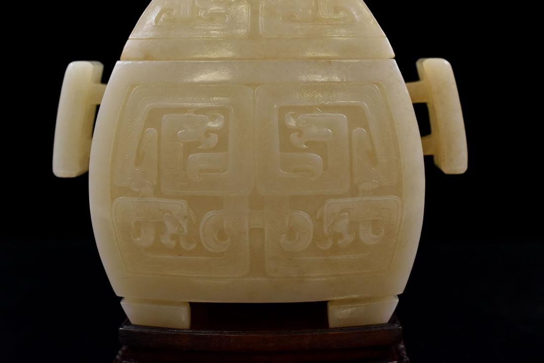 CHINESE JADE FU CENSER ON STAND - 9